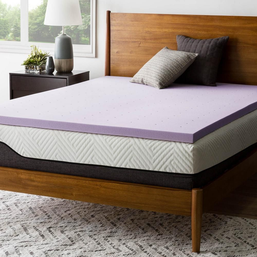 Lucid Comfort Collection 2 Inch Lavender And Aloe Infused Memory Foam Topper King Hdlu20kk30vt The Home Depot Foam Mattress Topper Memory Foam Mattress Topper Mattress