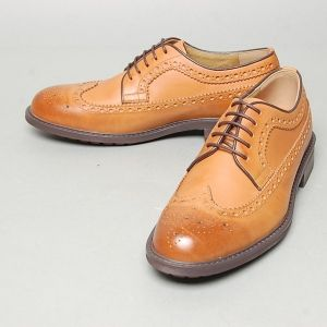b4a8aca65ea0eb Men's light brown leather wing tip full brogue Oxford shoes | Mens ...