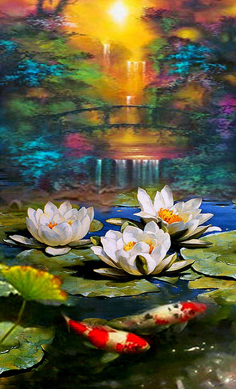 Pond  Palette knife Original oil acr. painting on canvas by
