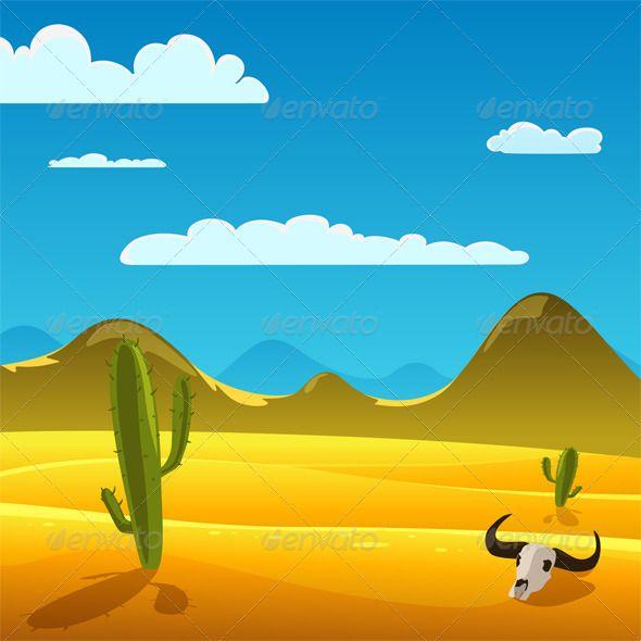 Desert Cartoon Landscape Desert Painting Cartoon Background Landscape Drawings