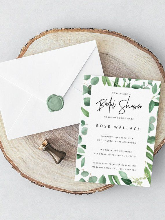 Eucalyptus Bridal Shower Invitation Template Greenery Printable