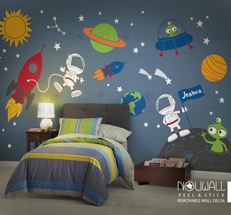 space wall decal planets astronaut boy star kids on wall stickers stiker kamar tidur remaja id=92622