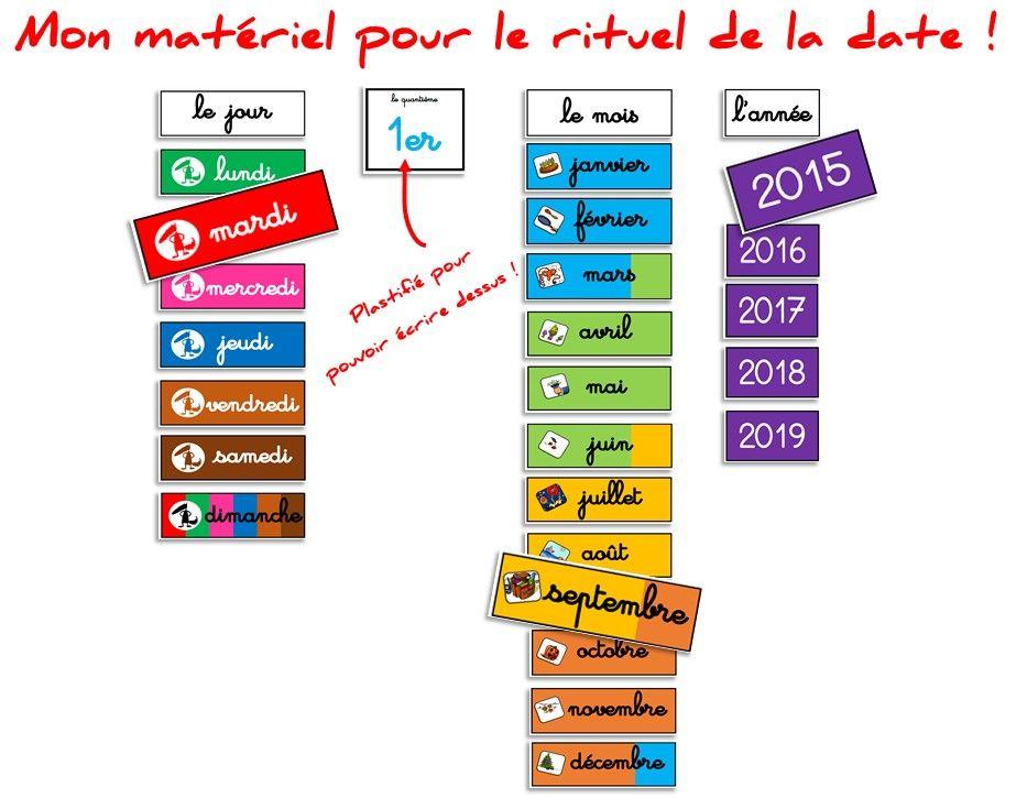 Populaire Mon matériel pour le rituel de la date ! - Elau | maternelle  BC38