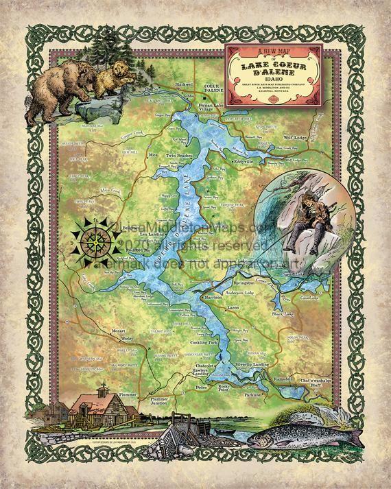 Lake Coeur D'Alene, Coeur D'Alene, Spokane, Idaho Lakes, lake map, lake art, Idaho Gifts, Lake house
