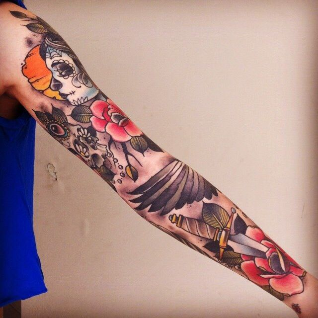 Neo Traditional Sleeve Neo Traditional Tattoo Sleeve Tattoos For Women Tattoos