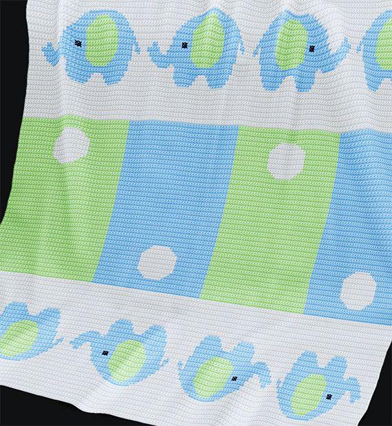 CROCHET Pattern - Baby Blanket Pattern - Elephants - Crochet Chart ...