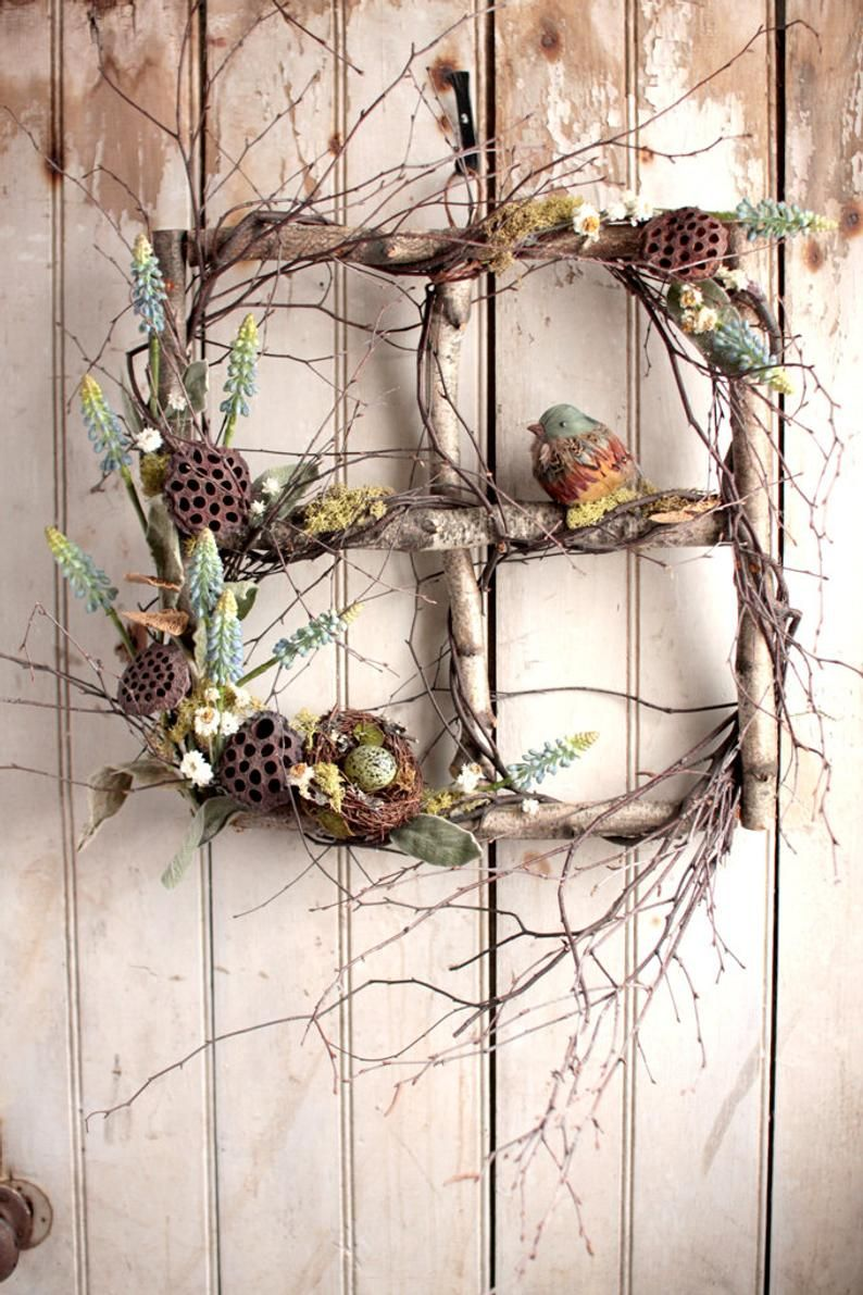 Spring Muscari Window - Spring Wreath - Easter Wreath - Birch Window - Nest