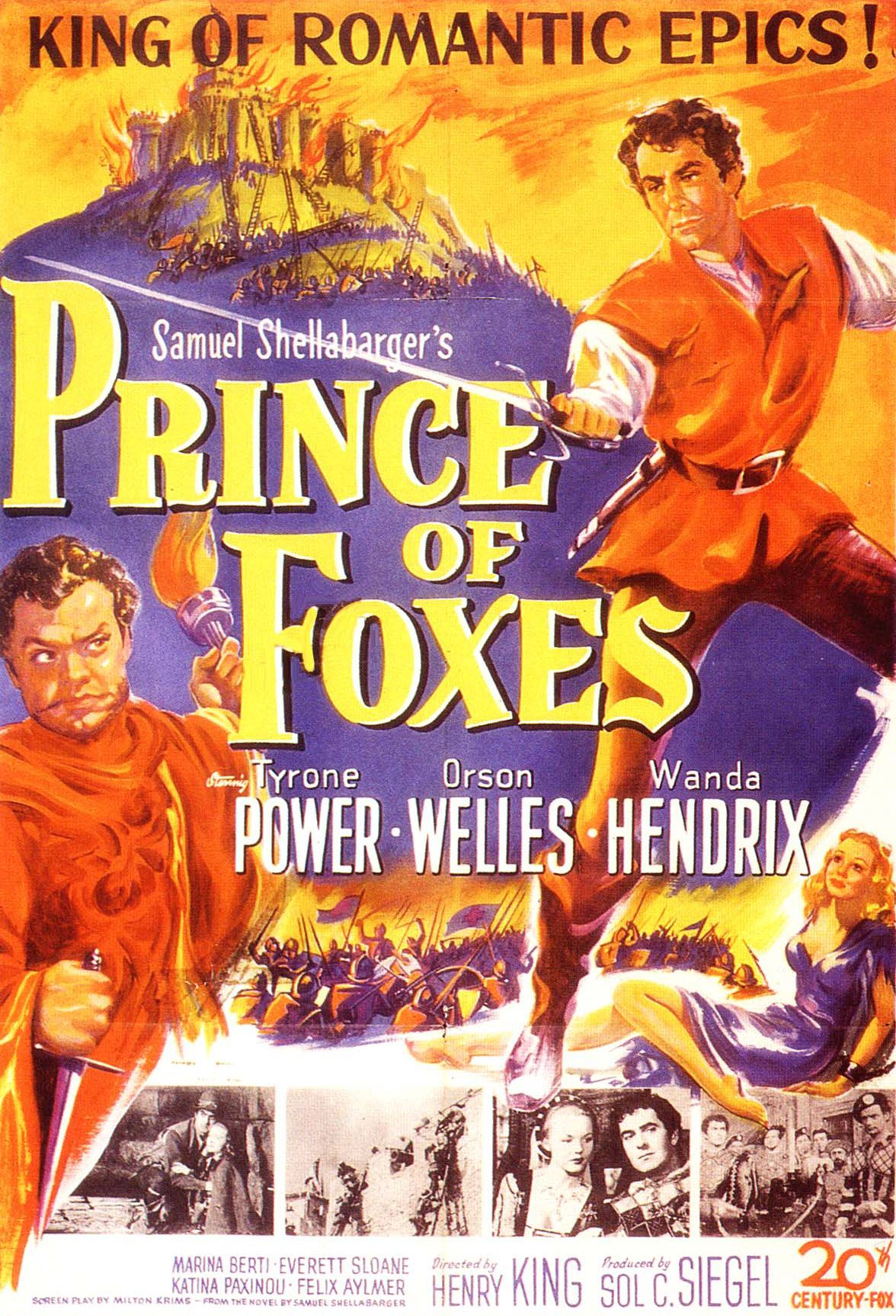 Prince of foxes Tyrone Power vintage movie poster print