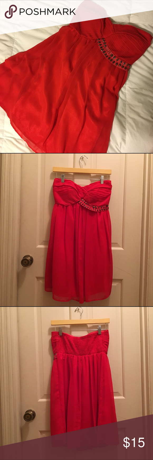"""Red Strapless Dress with Studs Across the Top This dress is strapless but it does have a rubber band along the front top portion. The back portion is a stretchy shirred part. It falls right above the knees (I am 5'3""""). Only worn a couple times (less than 5). Charlotte Russe Dresses Strapless"""