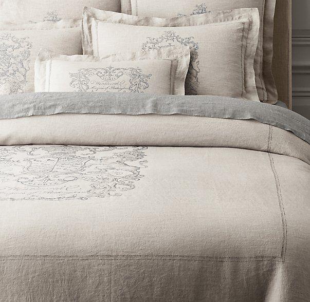 Wentworth Crest Vintage Washed Belgian Linen Duvet Cover Belgian Linen Duvet Covers Black Bed Linen Belgian Linen Bedding