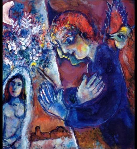 Artist At Easel Marc Chagall Surrealism Symbolic Painting In Oil