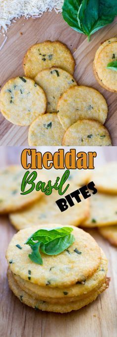 Low Carb Cheese Crackers | Cheddar Basil Bites