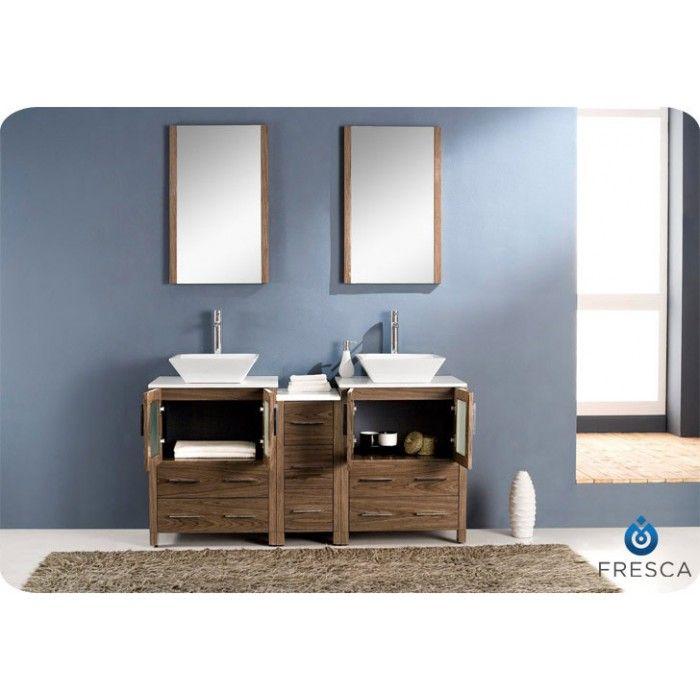 Fresca Torino 60 Walnut Modern Double Sink Bathroom Vanity Side Cabinet & Vessel Sinks