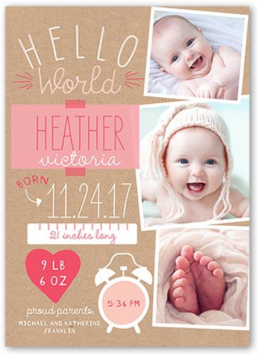birth announcement newest arrival girl square corners pink