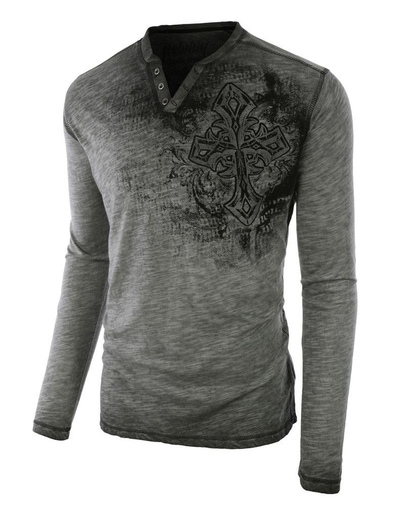 Multicolor Panel Round Neck Long Sleeves T-Shirt | Rounding, Men's ...