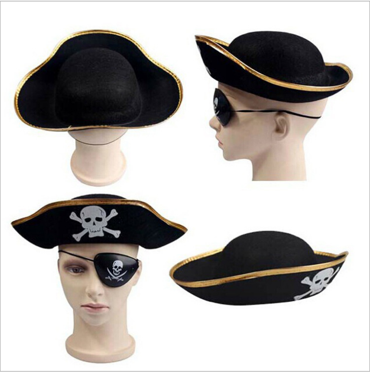 Pirate Eye Patch Captain Flat Hat Costume Party Supplies