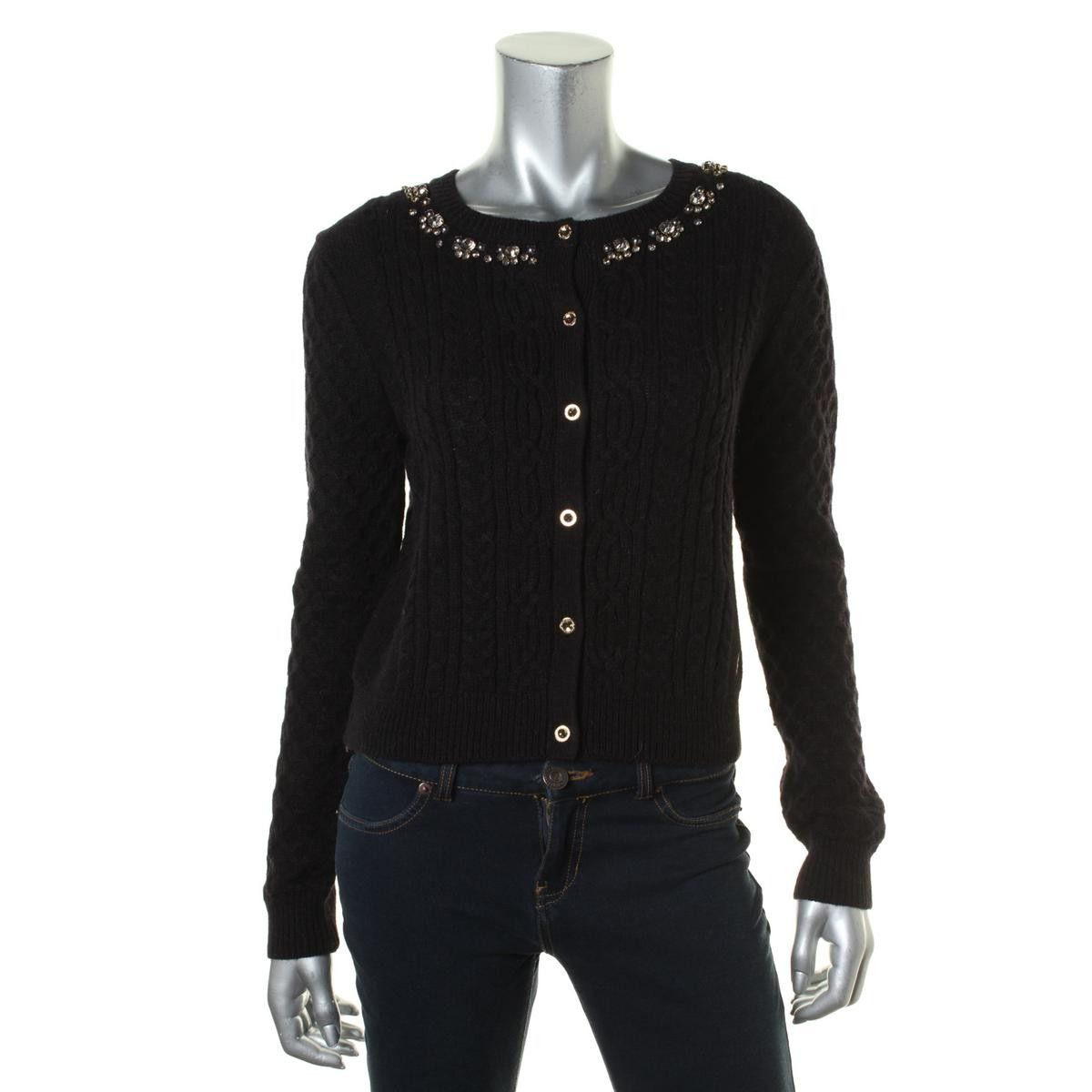 Juicy Couture Black Label Womens Cable Knit Embellished Cardigan ...