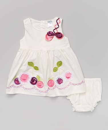 2d4568eb5410 Another great find on #zulily! White & Purple Cherry Dress & Diaper Cover -  Infant #zulilyfinds