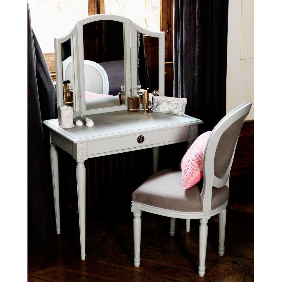 Coiffeuse en bois eugenie comptoir de famille l83cm avec for Coiffeuse moderne avec miroir