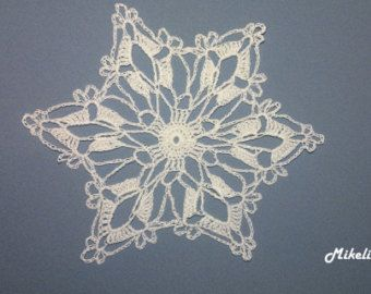19 Crochet Snowflakes Christmas Appliques White by MikelinaArt