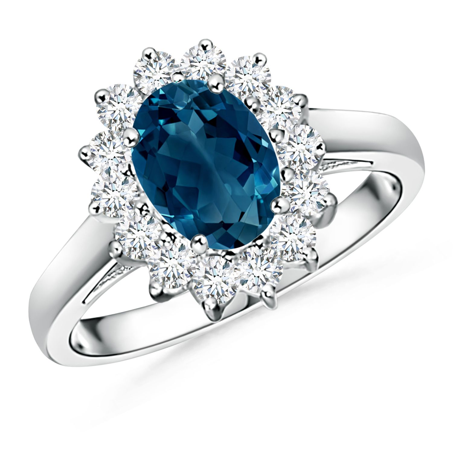 Angara London Blue Topaz Ring with Diamond Halo in Platinum DDmaH7