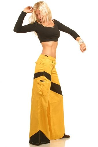 Techno Pant Xperado Yellow Black Raver Pants Flared Jeans
