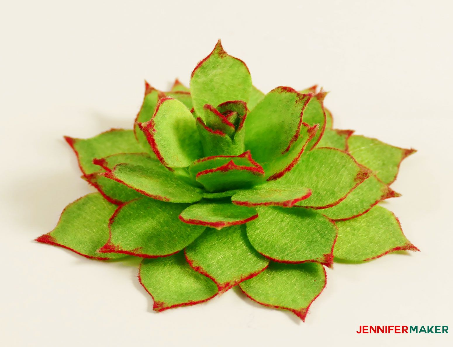 The finished felt succulent with red edges