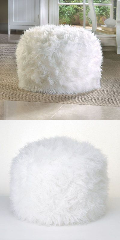 Ottomans Footstools And Poufs 40 FurLike Fuzzy Shaggy White Gorgeous Shaggy Pouf Ottoman