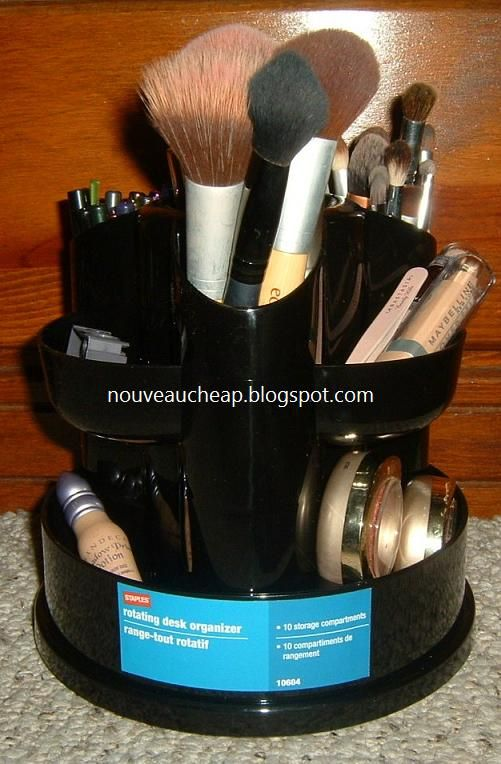 Rotating office supply organizer as make-up organizer! For our tiny bathroom :)