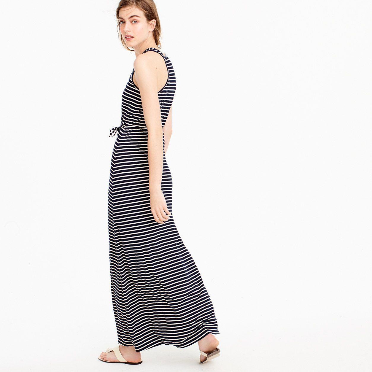 56851840d84 J.Crew Womens Striped Maxi Dress With Tie Waist (Size XXL)