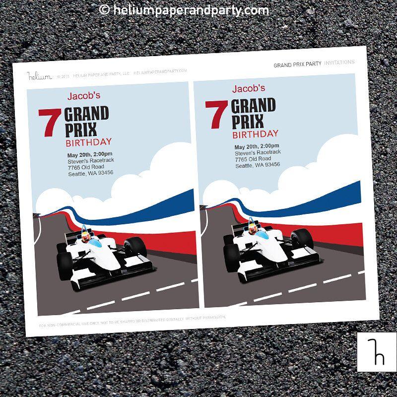 Grand Prix Birthday Invitation, Race Car Invite, Lego Car Party ...