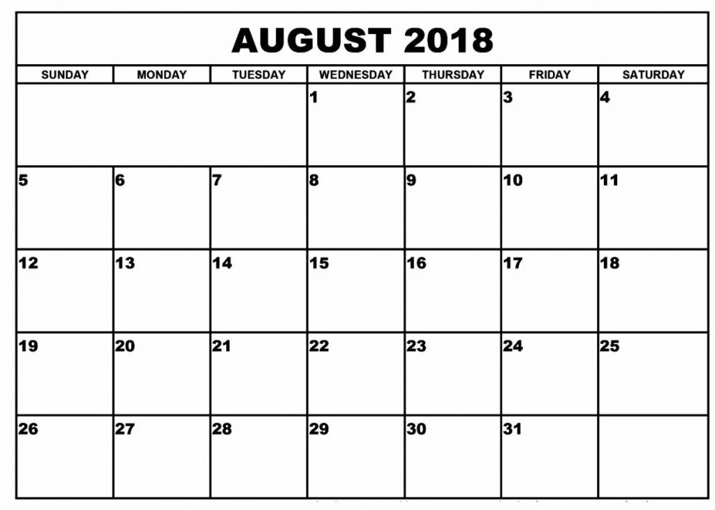 Blank August 2018 Calendar Blank August 2018 Calendar Pinterest
