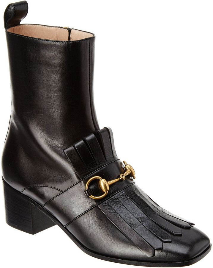 Gucci Polly Kiltie Leather Ankle Boot Boots Gucci Boots Mens Dress Shoes Men