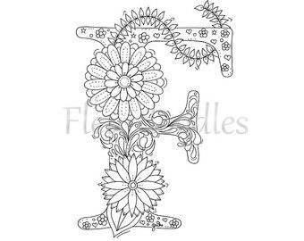 Adult Coloring Pages Books Colouring Floral Letters Letter Art Hand Lettering Anti Stress Alphabet Colour Book