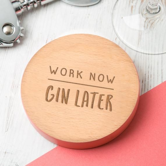 Personalized Coworker Colleague Gin Gift Idea Coaster - Christmas Secret Santa P... #secretsantagiftideas