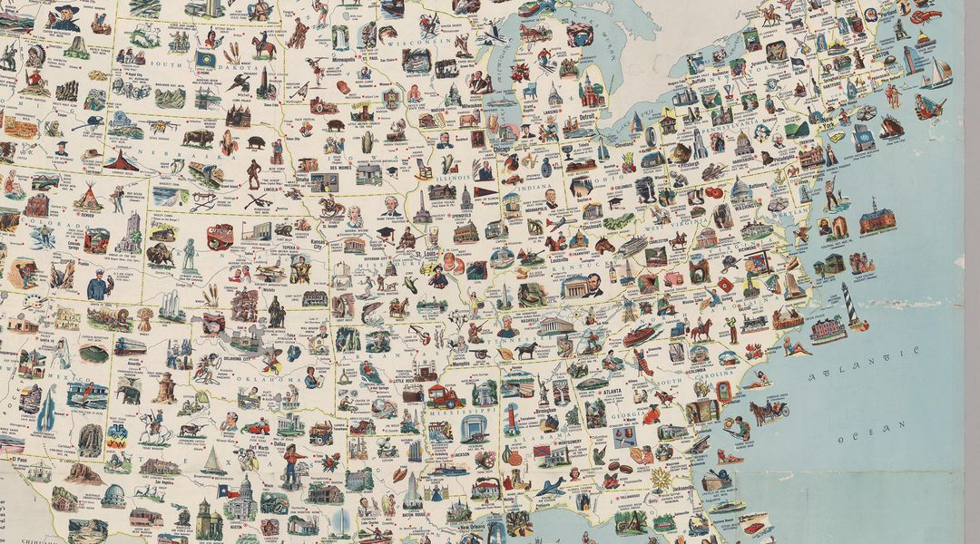 Visit every place on this vintage US map for the most epic road trip