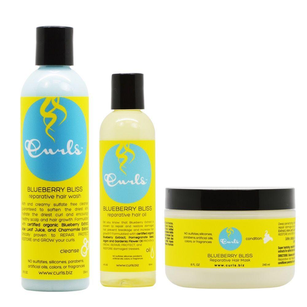 Curls Blueberry Bliss Hair Wash Amp Mask Amp Hair Oil Combo In 2020 Hair Oil Curls Deep