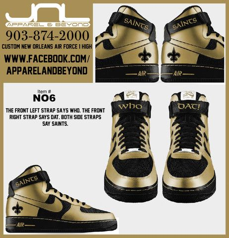 Custom New Orleans Saints Air Force 1 High Team Colors Edition – JNL Apparel dd21b85c1