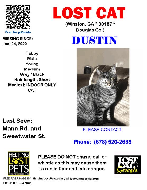 Lost Cat Winston Ga Jan 24 2020 Closest Intersection Mann Rd