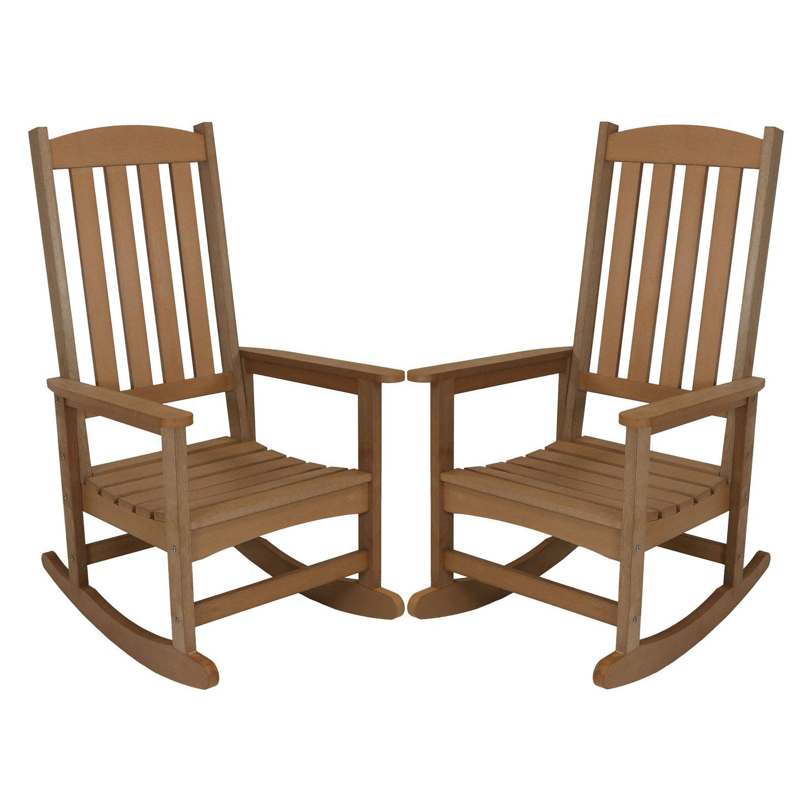 Sunnydaze Decor All Weather Recycled Plastic Faux Wood Outdoor Rocking Chair Set Of 2