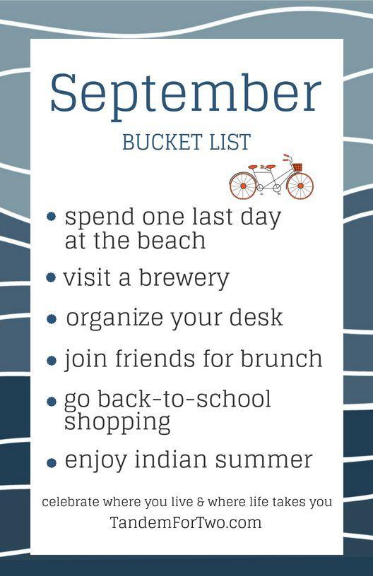 September Bucket List from Tandem For Two #fallbucketlist