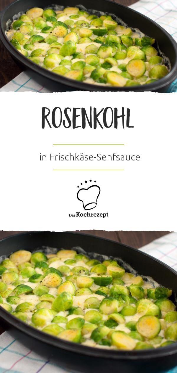 Gesund, kalorienarm, schnell gemacht: Rosenkohl! In einer cremigen Frischkäse-Senfsauce überzeugt dieses Gericht sowohl die Großen als auch die Kleinen. #daskochrezept #rosenkohl #kohl #kale #frischkaese #sosse #sauce #senfasauce #senfsosse #kalorienarm #schnell