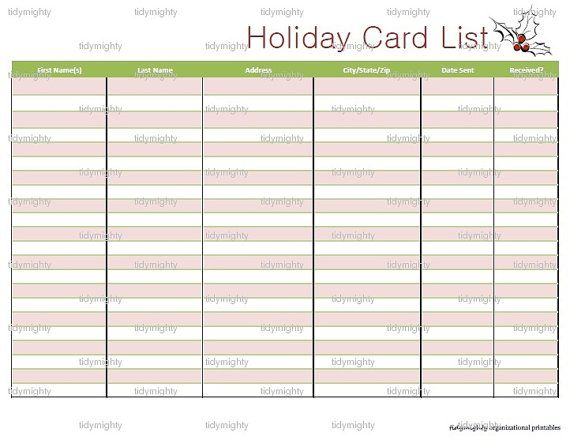 Holiday Christmas Card List Holidays Pinterest Holidays