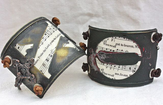 Vintage stencil bracelets with hymnal remnants, etc.....ooh-la-leigh's