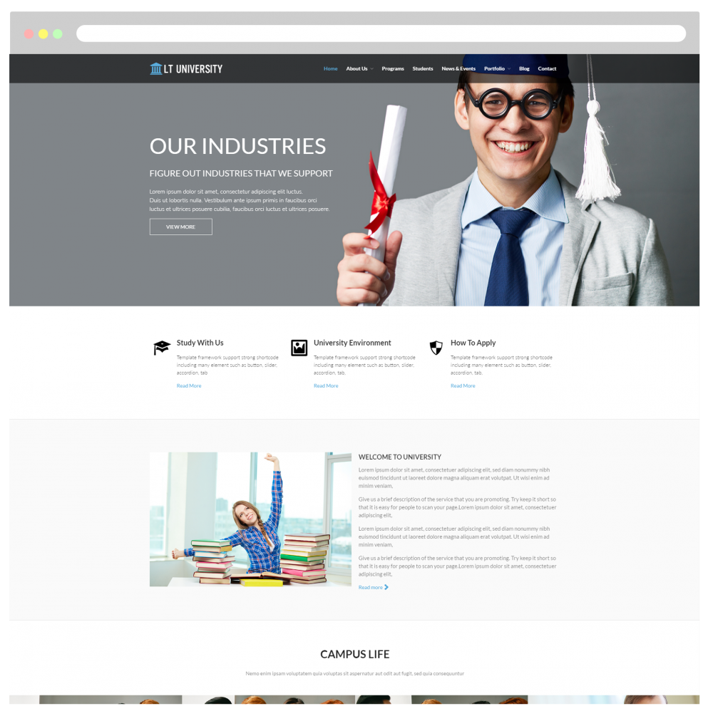 LT University Onepage Free Single Page College/University WordPress ...