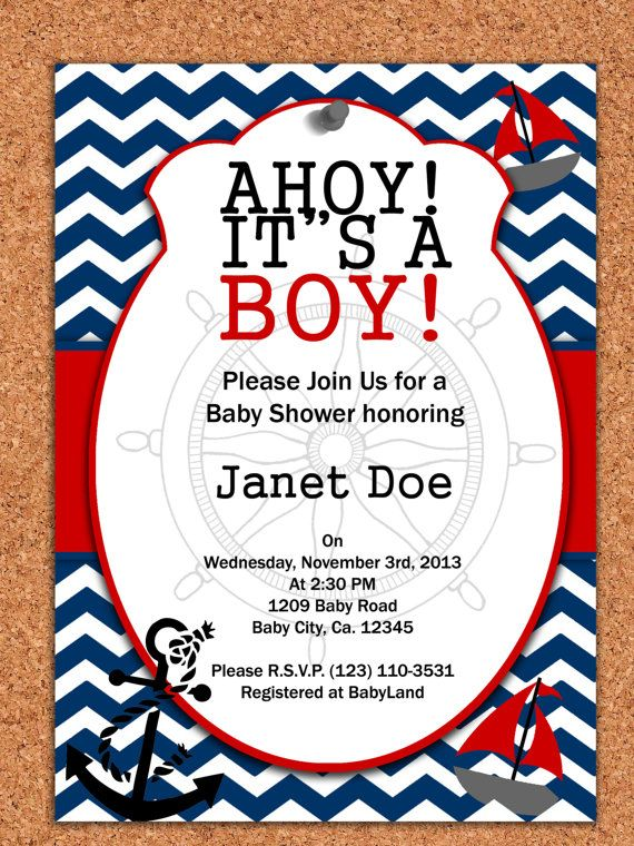 Printable Invitation Nautical Baby Shower By Atomdesign On Etsy 5 00