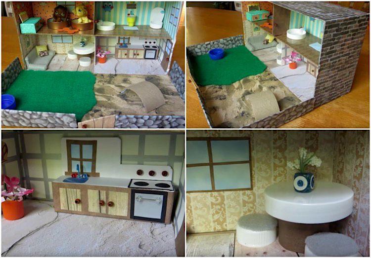 schuhkarton basteln kinder haus zimmer einrichtung basteln mit papier pinterest. Black Bedroom Furniture Sets. Home Design Ideas