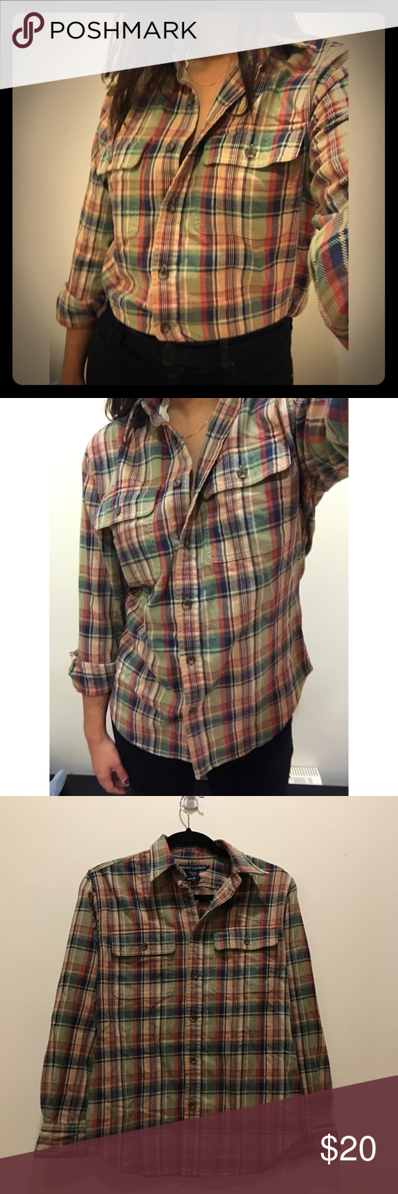 Ralph Lauren Plaid Shirt Super cute Ralph Lauren shirt. I love how comfortable it is and how vintage-y and cool it looks! 100% cotton!! It is slightly thick but super soft. The patches on sleeves are a suede-like material. The size says 8, I'm a medium and it fits me just right, if you're a small it might be a little looser. Ralph Lauren Tops Button Down Shirts