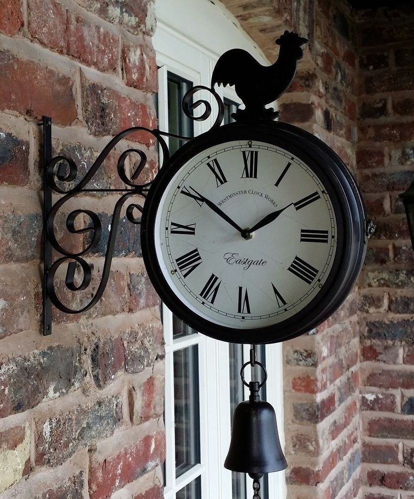 outdoor garden station wall clock double sided cockerel and bell 20cm bracket