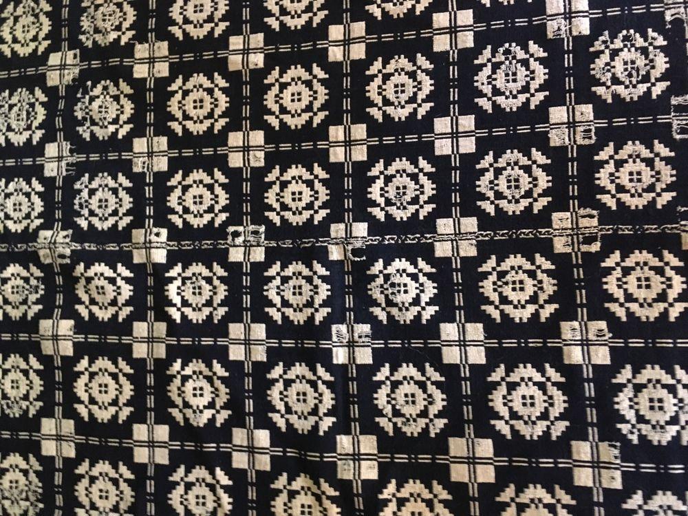 Antique Overshot Coverlet Blanket Center Seam Indigo Blue  & Cream Textile AAFA